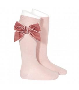 Cóndor - Calcetines altos punto liso con lazo de terciopelo - Rosa palo