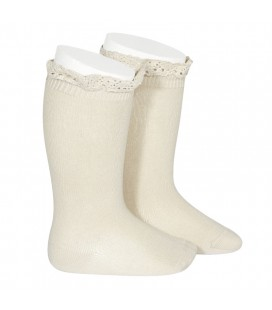 Cóndor - Calcetines altos punto liso con puntilla - Lino