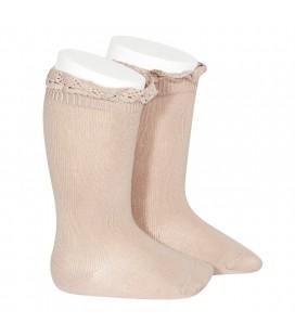 Cóndor - Calcetines altos punto liso con puntilla - Rosa empolvado