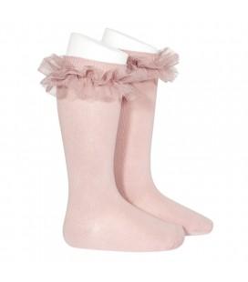 Cóndor - Calcetines altos punto liso con tira tul fruncido - Rosa palo