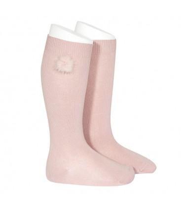 Calcetines altos punto liso con borla de pelo de Cóndor - Rosa palo