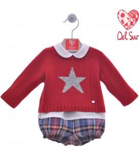 Del Sur - Conjunto Estrella para bebé color pimentón