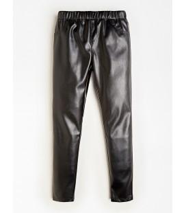 Guess - Leggings de cuero sintético negros para niña