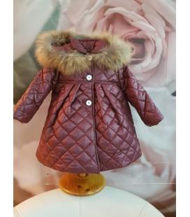 Valentina Bebés - Abrigo acolchado burdeaux para bebé con pelo natural