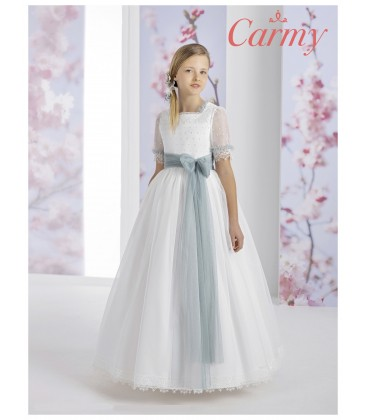 Carmy - Vestido fantasía organza rayada de primera comunión