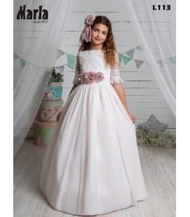 Marla - Vestido primera comunión rosa bámbula