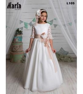 Marla - Vestido primera comunión beige flocado