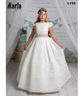 Marla - Vestido primera comunión beige tejido rústico