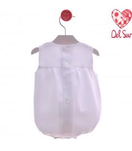 Del Sur - Pelele Palermo blanco para bebé