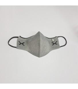 Mantuki - Mascarilla higiénica reutilizable adulto color gris claro aspa