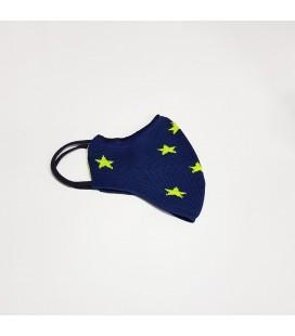 Mantuki - Mascarilla higiénica reutilizable marino estrellas fluor