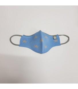 Mantuki - Mascarilla higiénica reutilizable infantil celeste estrellas