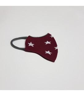 Mantuki - Mascarilla higiénica reutilizable infantil granate estrellas