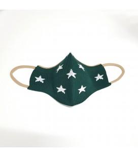 Mantuki - Mascarilla higiénica reutilizable infantil verde estrellas