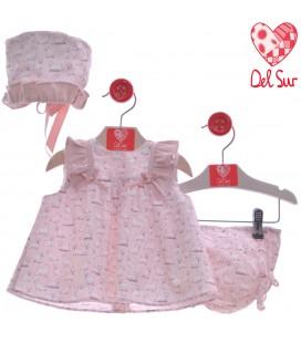 Del Sur - Jesusito con capota Napoles rosa empolvado para bebé