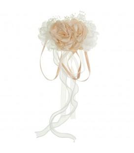 Siena - Pasador tocado flores y cintas colgantes Ambar