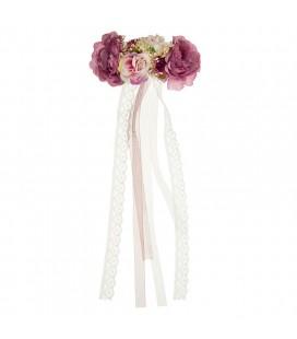 Siena - Pasador floral con vagas de muselina y puntilla