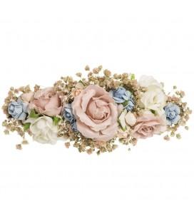 Siena - Tocado manzanilla, gypso y flores en pasador