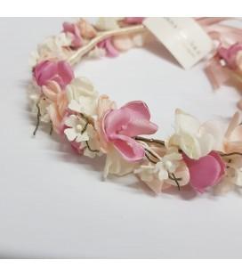 Juana Sánchez - Corona flores marfil y rosa