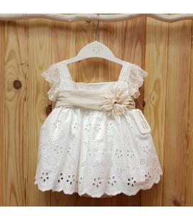 Valentina Bebés - Vestido tejido bordado marfil y arena