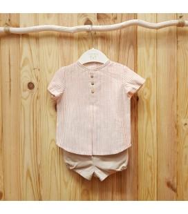 Valentina Bebés - Conjunto rayas rosa empolvado