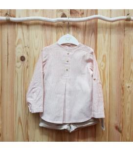 Valentina Bebés - Conjunto manga larga rayas rosa empolvado
