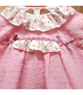 Del Sur - Jesusito con capota Florencia rosa empolvado para bebé