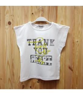 PEOPLE - Camiseta blanca niña detalles fluor