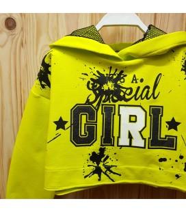 PEOPLE - Sudadera amarilla con capucha para niña