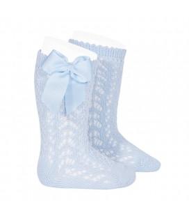 Cóndor - Calcetines altos calados con lazo - Azul bebé