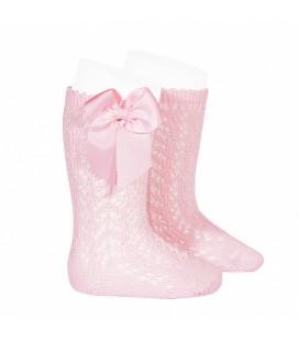 Cóndor - Calcetines altos calados con lazo - Rosa