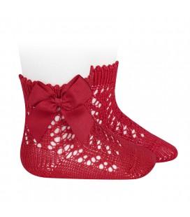 Cóndor - Calcetines cortos de Perlé calados con lazo - Rojo