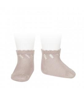Cóndor - Calcetines cortos perlé calados - Rosa empolvado