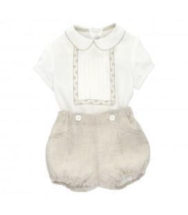 Martín Aranda - Conjunto Azahar color lino para bebé