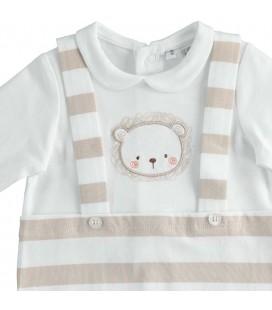 iDo by Miniconf - Pelele blanco rayas cámel para bebé