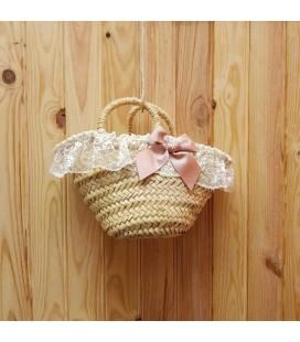 Valentina Bebés - Capazo de mimbre lazo rosa