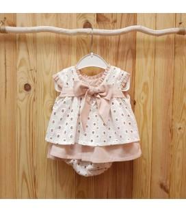 Valentina Bebés - Vestido tejido bordado rosa empolvado
