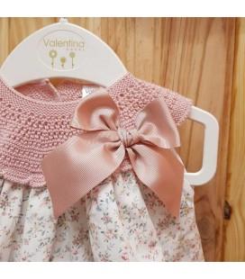 Valentina Bebés - Vestido tricot  estampado rosa empolvado
