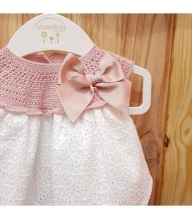 Valentina Bebés - Conjunto tricot y tejido rosa empolvado para bebé