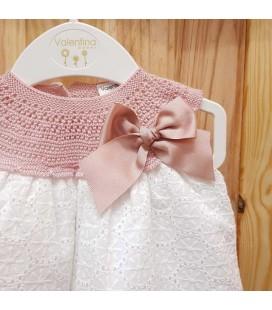 Valentina Bebés - Vestido tricot con pololo rosa empolvado
