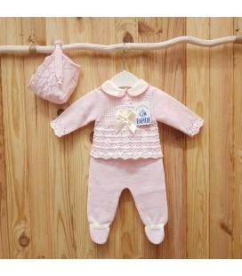Babylis - Conjunto jubón, polaina y capota rosa para bebé