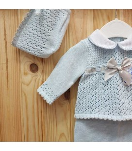 Babylis - Conjunto punto celeste gris para bebé