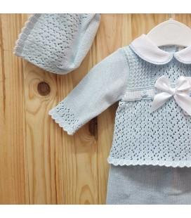 Babylis - Conjunto punto celeste blanco para bebé
