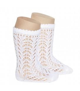 Cóndor - Calcetines altos perlé calados - Blanco