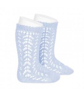 Cóndor - Calcetines altos perlé calados - Azul bebé