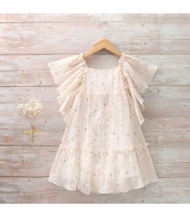 Dadati - Vestido beige rosado gasa plisada para niña