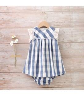 Dadati - Vestido cuadros con braguita para bebé