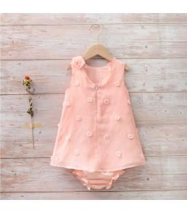 Dadati - Vestido rosa bordado pompones para bebé