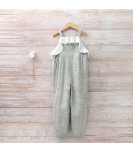 Dadati - Mono verde tejido rústico para niña