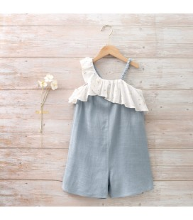 Dadati - Mono azul tejido rústico para niña